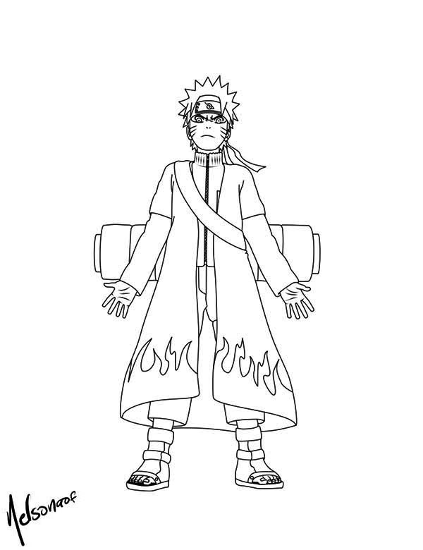 Naruto with Cool Fire Robe Coloring Page Download Print Online