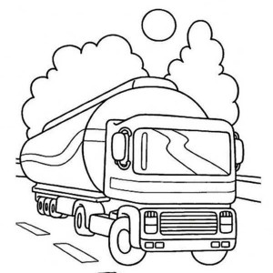 oil container semi truck on the road coloring page - Semi Truck Trailer Coloring Pages