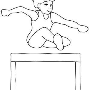 Olympic Track Field Runner Hurdle in Gymnastic Coloring Page