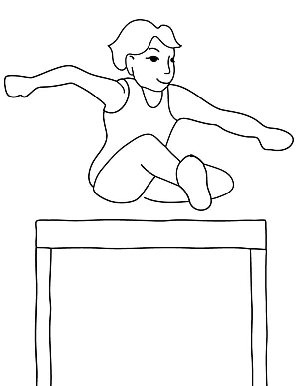 Gymnastic Olympic Track Field Runner Hurdle In Coloring Page