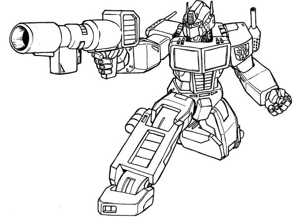 Optimus Prime Bazooka Of Transformers Coloring Page