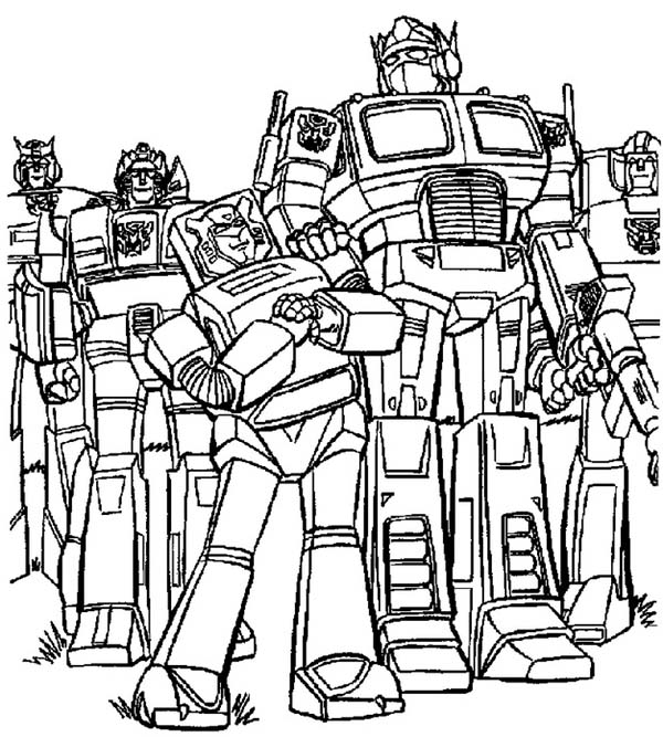 optimus prime and autobots in transformers coloring page - Transformers Coloring Pages