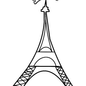 Paris France Eiffel Tower Coloring Page