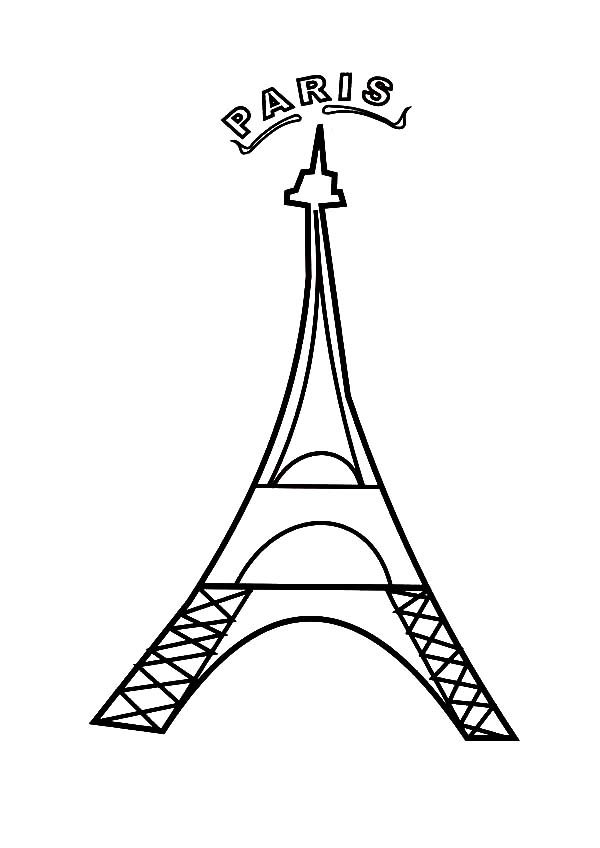 Paris France Eiffel Tower Coloring Page