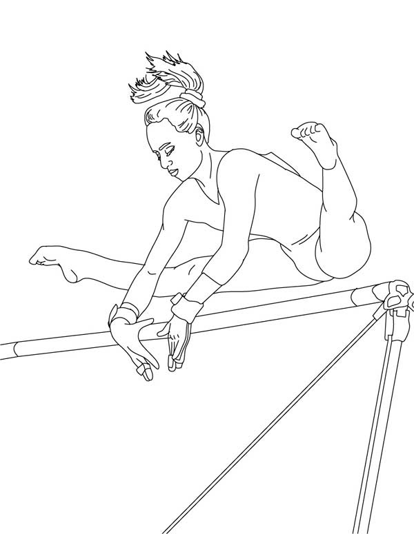 gymnastic perfect score of high bar in gymnastic coloring page