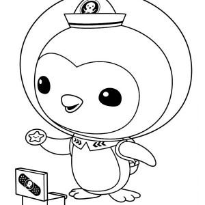Peso Penguin Opening his Medical Kit in The Octonauts Coloring Page