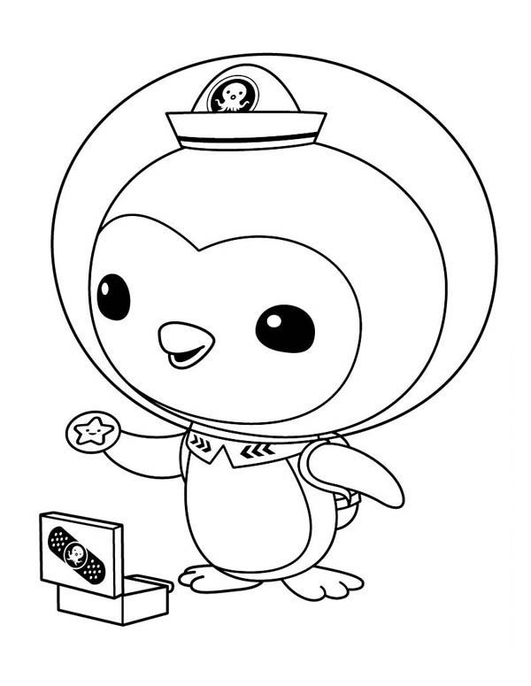 Peso Penguin Opening his Medical Kit in The Octonauts Coloring