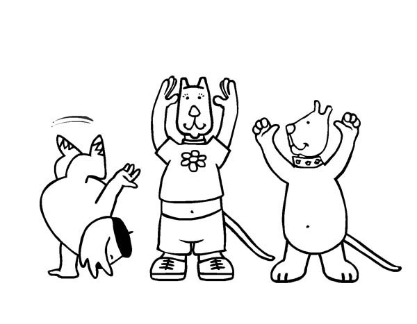 Pets Doing Gymnastic Move Coloring Page Download Print