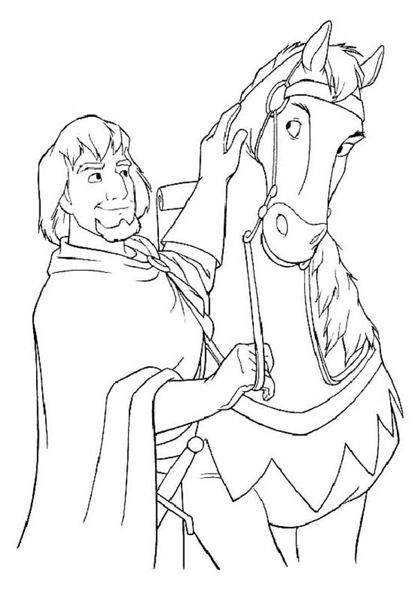 the hunchback of notre dame coloring pages - phoebus and his horse in the hunchback of notre dame