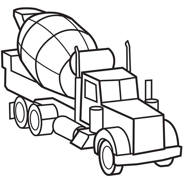 Picture of Cement Truck Semi Truck Coloring Page - Download & Print ...