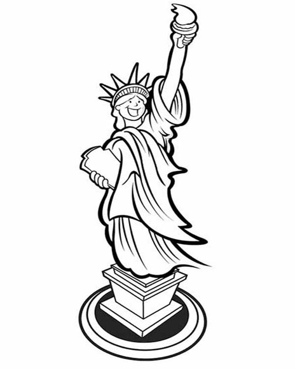 picture of laughing statue of liberty coloring page