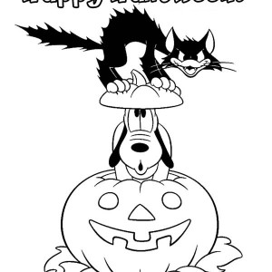 Pluto and Cat in Halloween Pumpkins Colouring Page