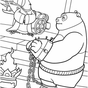 Po Being Handcuffed In Kung Fu Panda Coloring Page