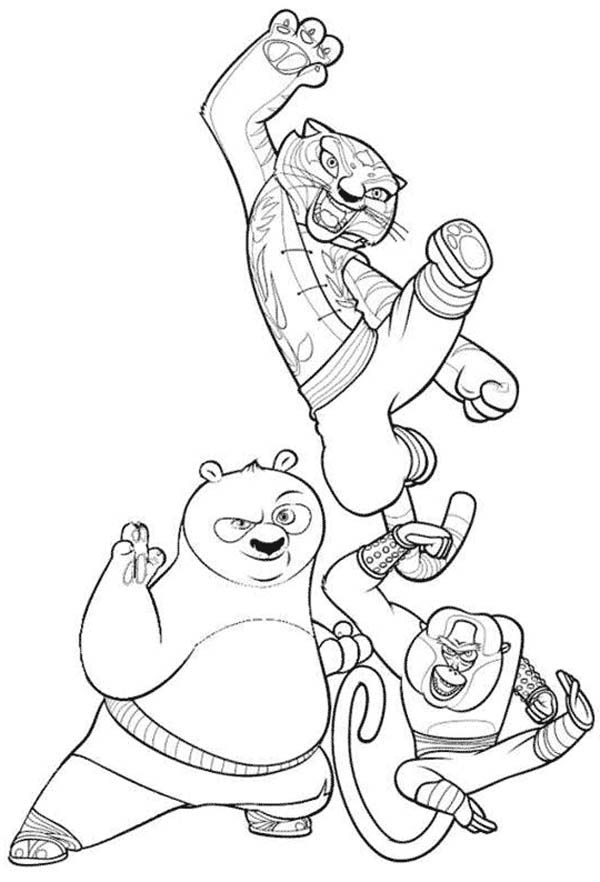 Kung Fu Panda Po And Tigress Monkey From Coloring Page