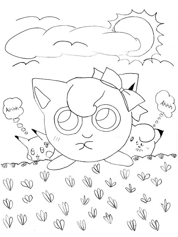 Jigglypuff Pokemon Stepping On Grass Coloring Page