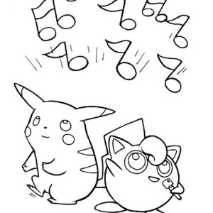 Pokemon Jigglypuff and Pichu is Singing Coloring Page