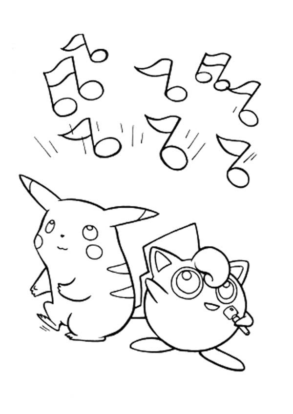 Pokemon Jigglypuff and Pichu is Singing Coloring Page  Download