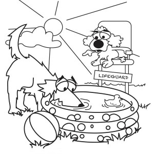 Poodle and Doodle Summer Vacation Coloring Page
