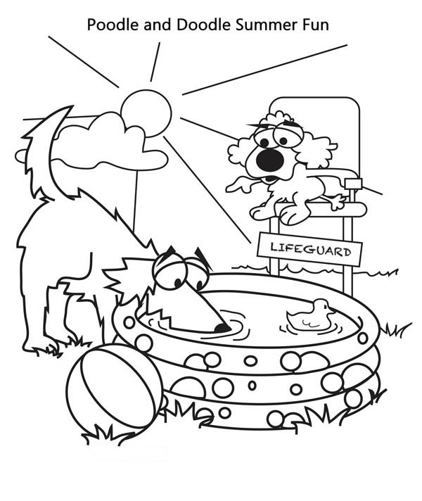 Poodle and Doodle Summer Vacation Coloring Page Download Print