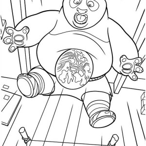 Po's Big Stomach from Kung Fu Panda Coloring Page