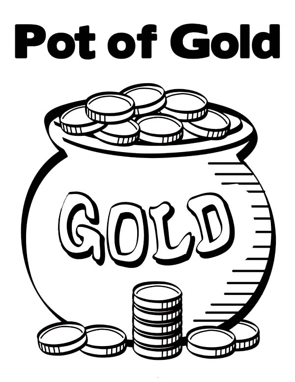 Pot Of Gold Contain Bunch Of Gold Coins Coloring Page