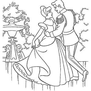 Prince Charming and Cinderella Dance in Cinderella Coloring Page