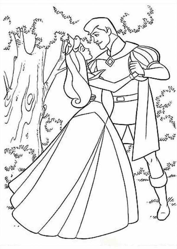 princess aurora dancing with prince phillip coloring pages