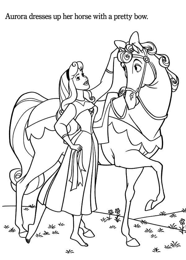 princess aurora love her horse coloring page - Horses Coloring Pages