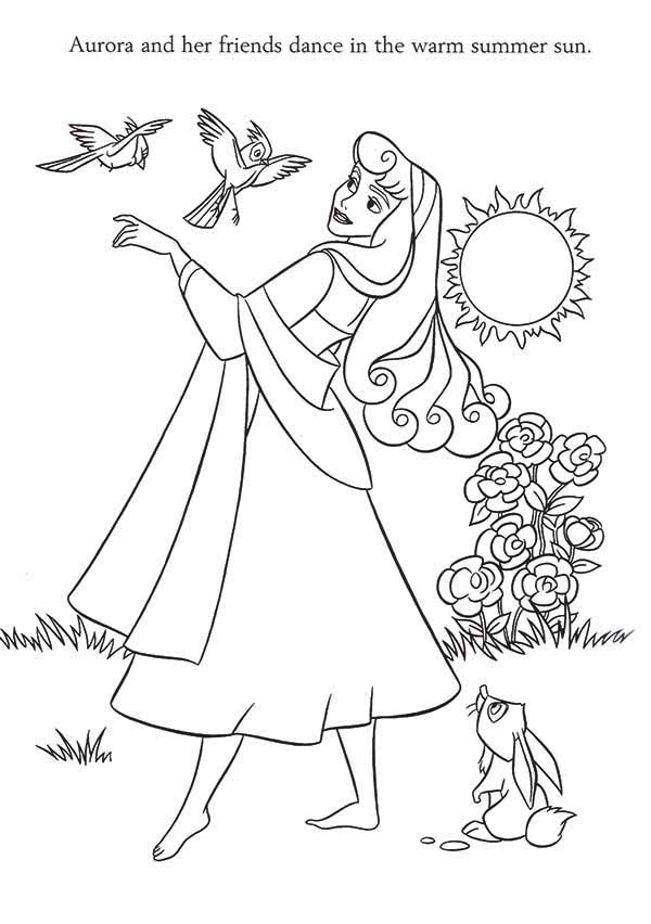 princess aurora and her friend dance in the warm summer sun coloring page