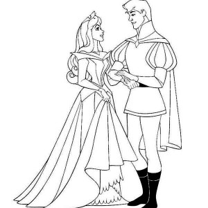 Princess Aurora and Prince Phillip Sing and Dance Together Coloring Page