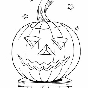 Pumpkins and Stars Coloring Page