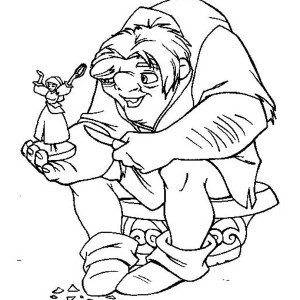 Quasimodo Hold Little Figure Of Esmeralda In The Hunchback Notre Dame Coloring Page