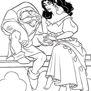 Quasimodo Holding Esmeralda Hand in The Hunchback of Notre Dame Coloring Page
