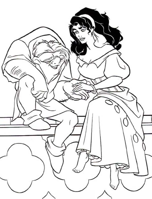 Hunchback Of Notre Dame Quasimodo Holding Esmeralda Hand In The