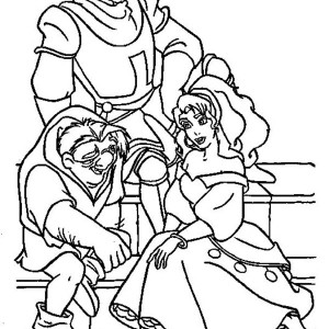 Quasimodo And Esmeralda Phoebus Hang Out Together In The Hunchback Of Notre Dame Coloring Page
