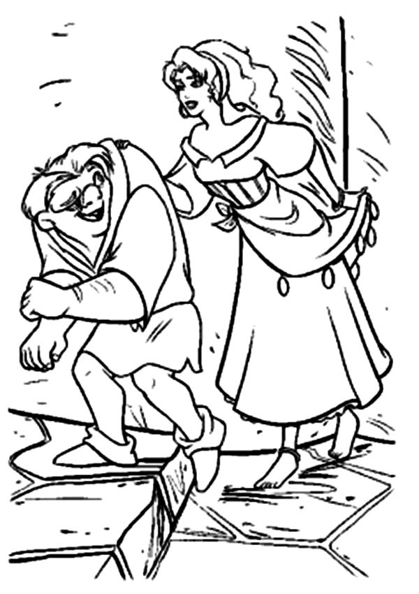 Hunchback Of Notre Dame Quasimodo And Esmeralda In The Coloring Page
