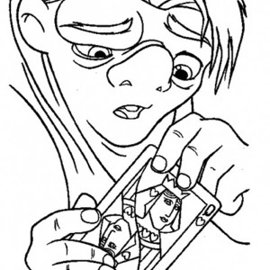 Quasimodo with Card of Queen The Hunchback of Notre Dame Coloring Page
