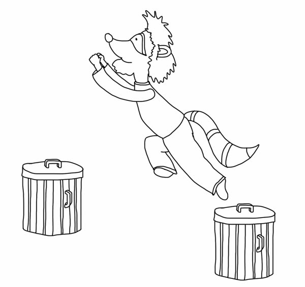 Raccoon Jump from Trash Can Coloring Page - Download & Print Online ...