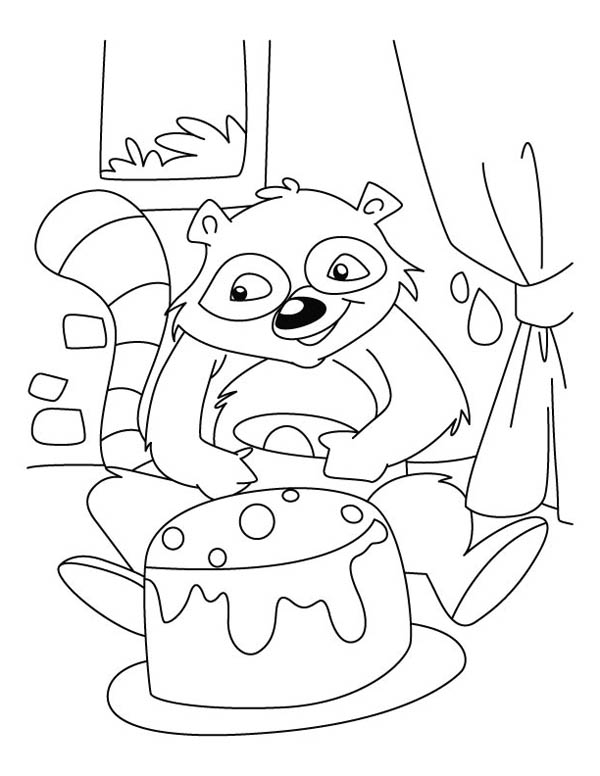 raccoon coloring page - raccoon and a cake coloring page download print online