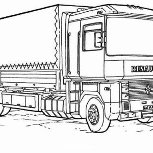 Renault Semi Truck Coloring Page