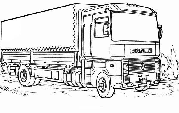 Renault semi truck coloring page download print online for Big trucks coloring pages