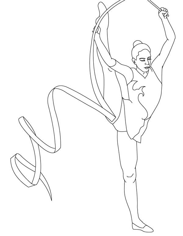 gymnastic ribbon individual all around rhythmic in gymnastic coloring page ribbon individual all around