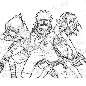 Sasuke Naruto and Sakura in Naruto Coloring Page Sasuke Naruto and