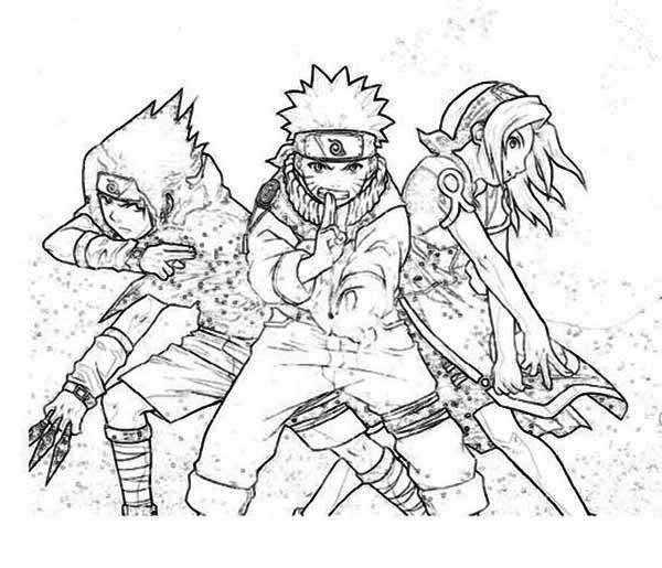 Sasuke Naruto and Sakura in Naruto Coloring Page Download