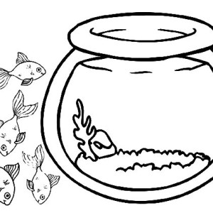 Goldfish with Big Eyes in Fish Bowl Coloring Page Goldfish with Big