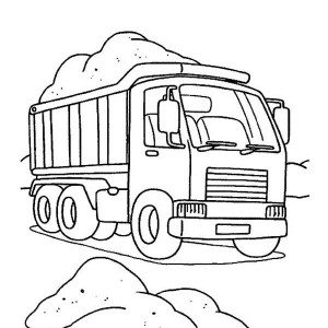 Semi Truck Contain of Sand Coloring Page