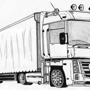 coloring pages of 18 wheelers trucks | An 18 Wheeler Semi Truck Illustration Coloring Page: An 18 ...
