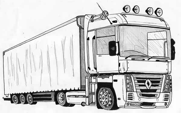 Semi Truck Drawing Coloring Page Download Print Online Coloring