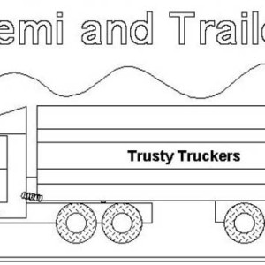 Semi Truck and Trailer Coloring Page