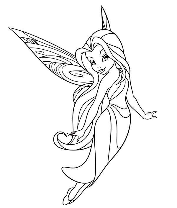 disney fairies silvermist flying in disney fairies coloring page - Fairy Coloring Page